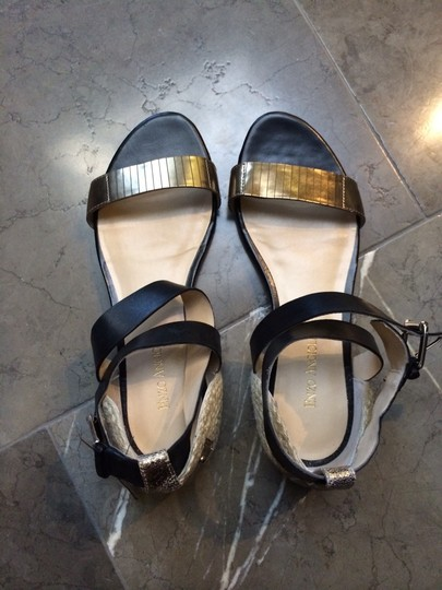 Enzo Angiolini Black, Gold, Straw Sandals