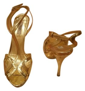 Prada Metalic Evening High Heel Gold Sandals