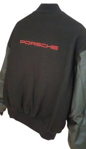 PORSCHE DESIGN Genuine Wool Varsity Bomber Leather Jacket