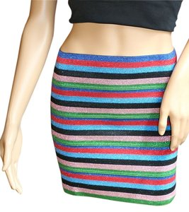 Pleasure Doing Business Stripe Women Mini Mini Skirt Rainbow