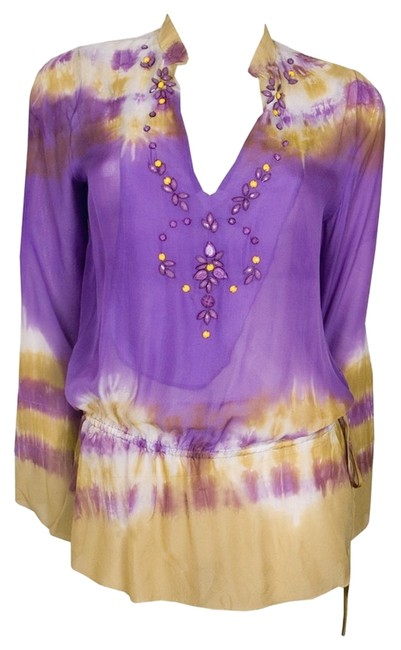 Hale Bob Tie Dye Beaded Silk New With Tags Tunic