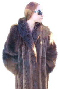 BEAVER FUR COAT Jacket Real Mink Fox Mink Fur Coat