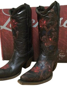 Lucchese Coyboy Cowgirl Floral Black, Red Boots