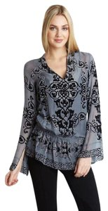 Hale Bob Gray Silk Embellished Black New With Tags Tunic