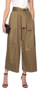 Tome Elastic Pockets Flowy Flare Culottes Capri/Cropped Pants Khaki