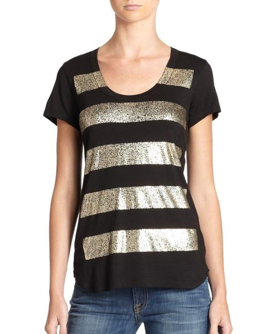 7 For All Mankind T-shirt Stripe T Shirt black, gold