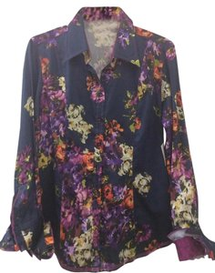Georg Roth Los Angeles Floral Blue Button Ruffled Top Navy