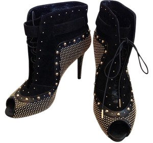 Alexander McQueen Lace Up Studded Lace Buckle Black and Gold studs Boots
