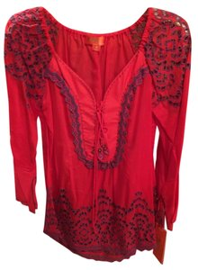 Hale Bob Embroidered Red Silk Cotton New With Tags Tunic