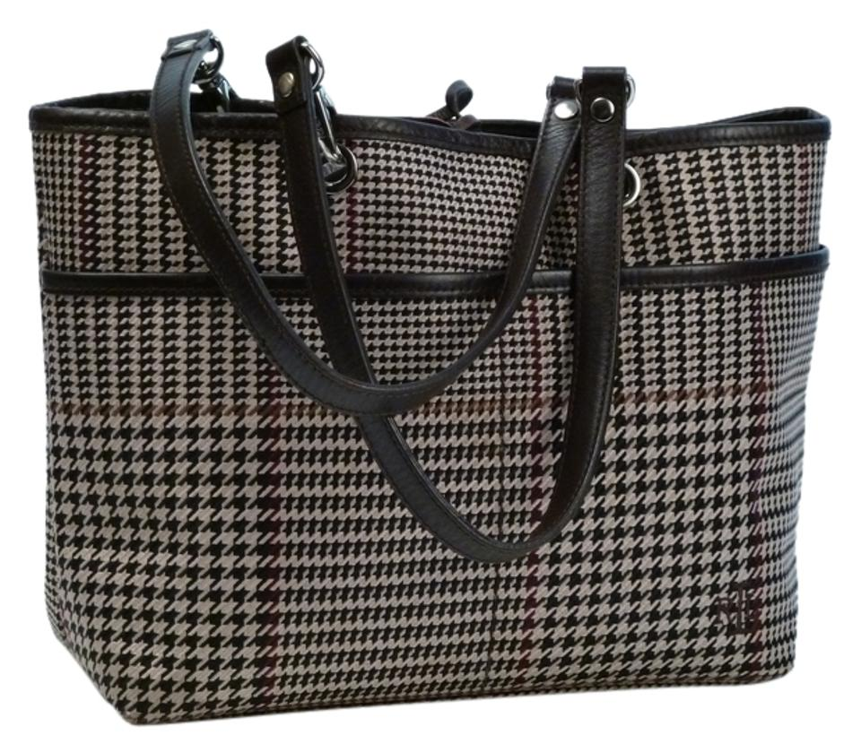 7a03f8a42e Ralph Lauren Cream Black Brown Houndstooth Canvas with Leather Trim ...