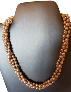 Other 14K Fresh Water Beige Pearl 3 Strand Necklace