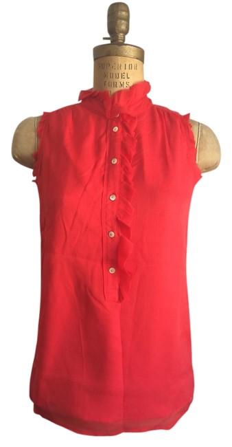 J.Crew Silk Ruffle Red Sleeveless Top Coral