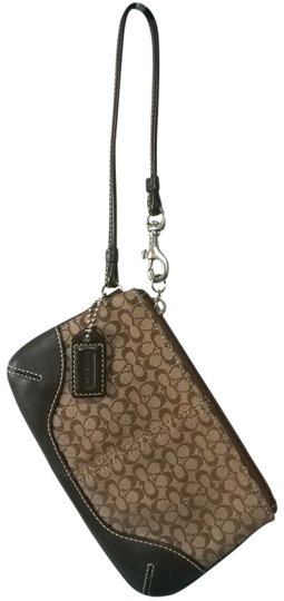 Preload https://item5.tradesy.com/images/coach-khakimahogany-signature-jacquard-with-leather-trim-wristlet-984709-0-0.jpg?width=440&height=440