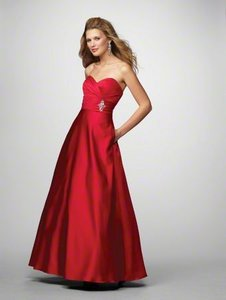 Alfred Angelo Cherry Red Satin 7166 Formal Bridesmaid/Mob Dress Size 10 (M)
