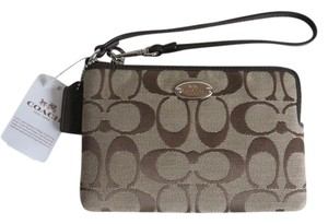 Coach Khaki Leather Wristlet in Khaki, Brown