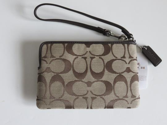 Coach Leather Wristlet in Khaki, Brown