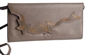 Stuart Weitzman Vintage Snakeskin Nappa Leather Convertible Dove Gray Clutch