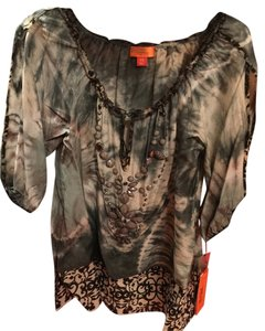 Hale Bob Embellished Cabana Silk Black New With Tags Tunic