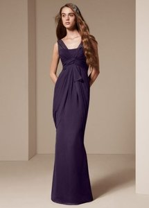 Vera Wang Amethyst V Neck Sleeveless Chiffon Column Dress Vw360027 Dress