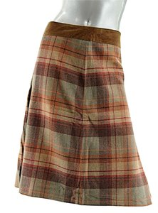 Les Copains Plaid Wool Pleats Skirt Multi Color