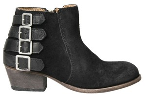 H by Hudson Suede Buckle Moto Ankle Black Boots