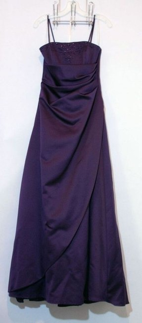 Item - Royal Purple Satin Gown Formal Bridesmaid/Mob Dress Size 4 (S)