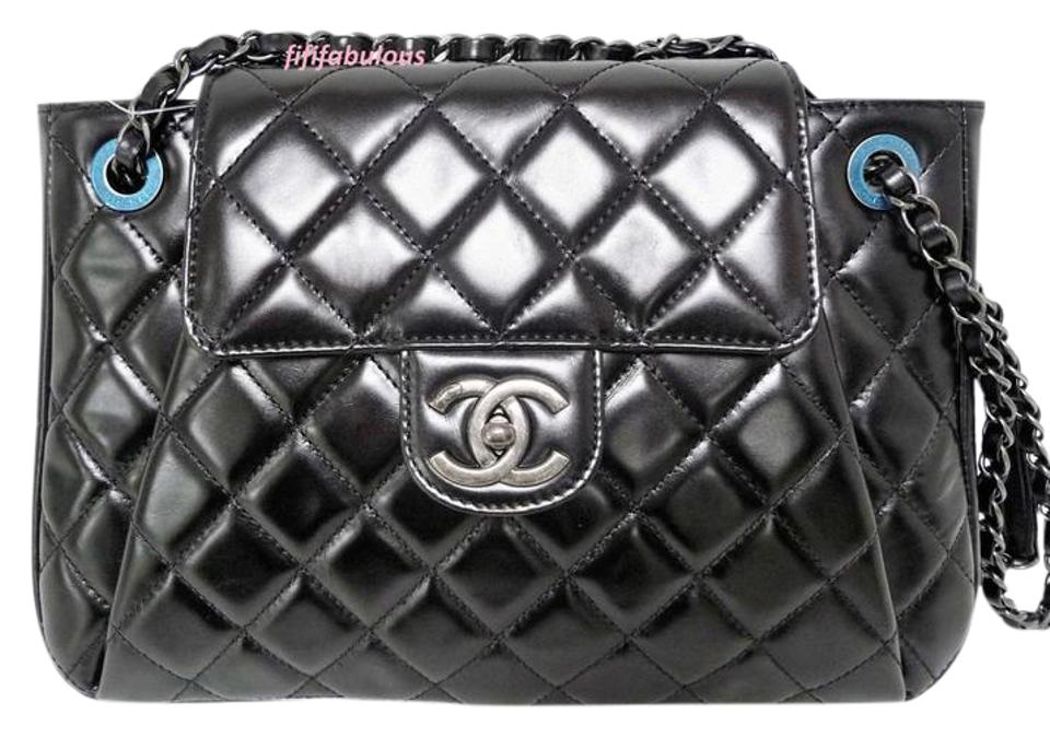 4e5b4b47be8b Chanel Classic Flap Glazed Accordion Black Calfskin Leather Shoulder ...