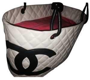 Chanel Black White Leather Tote