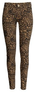 H&M Pants Animal Print Skinny Jeans-Coated