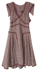 Zac Posen for Target short dress Light Pink, Purple Day Mini Above The Knee Polka Dot Contrasting Trim Back Zipper on Tradesy