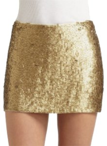 Haute Hippie Mini Sequin Sparkle Mini Skirt Gold