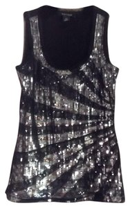 White House | Black Market Top Black with silver sequins
