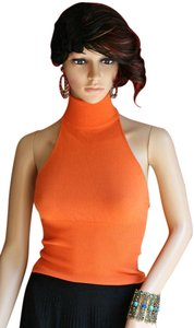 Dolce & Gabbana & Dg T-neck Turtleneck Tangerine Sweater Snaps Stretchy Stretch Knit Backless Sleeveless Designer Orange Halter Top
