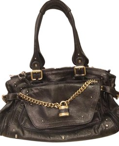 Chloé Leather Studded Chain Satchel in Black Gray Metallic