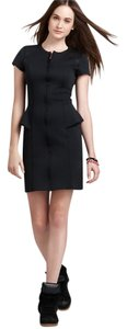 Theory Tenna Mesh-paneled Scuba Designer Scuba Mini Mesh Peplum Dress