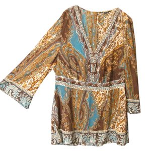 E by ECI Casual Top Multi Brown Teal Beige
