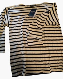 Saint James Sailor Striped French T Shirt Ecru/Noir