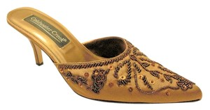 Coldwater Creek Light bronze fabric with brown beaded pattern Mules