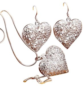 Other SALE New 925 Silver Pretty Heart Necklace Earring Set TOP quality, Christmas Gift