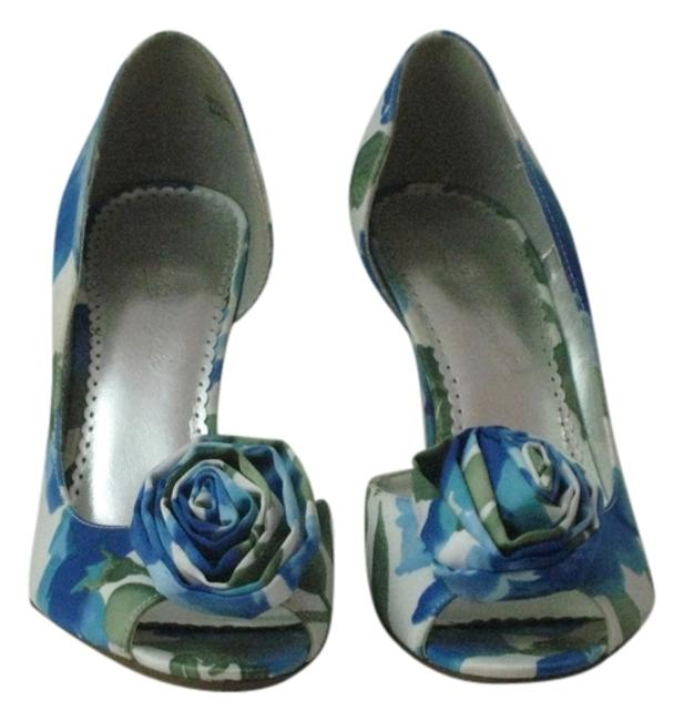 "Item - Blue/Aqua/Greens/White Floral Satin ""Bloom"" Peep-toe Pumps Size US 8 Regular (M, B)"