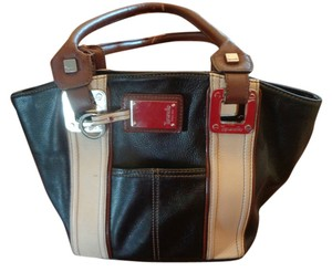 Tignanello Black And Tan Pebble Leather Hobo Bag