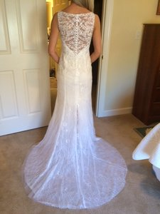 Galina Gallons Signature Swg675 White/ Vneck Lace Sheath Wedding Dress