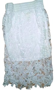 Meraki Size Medium New Lace Long P1935 Maxi Skirt white