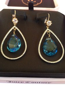Juicy Couture 100% Authentic Juicy Couture Pave Teardrop Orbital Earrings Rhinestone Blue Crystal YJRUO28