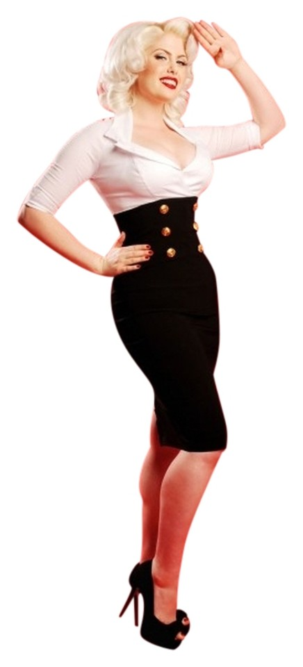 Pinup Couture White Black Plus Size Above Knee Cocktail Dress Size