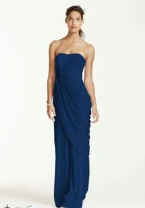 David's Bridal Marine (Navy Blue) Long Strapless Dress With Side Draping Dress