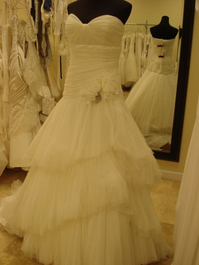 Anjolique Ivory Tulle 2029 Modern Wedding Dress Size 10 (M)