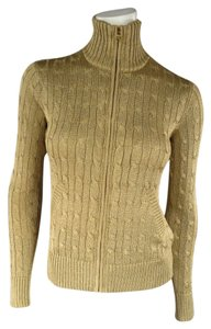 Ralph Lauren Metallic Cable Knit Zip Collar Neck Sweater