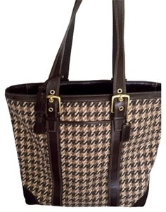 Coach Satchel in Dark Brown Plaid