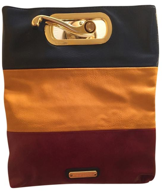 Item - Tri-color Fold-over Indigo Red Yellow Blue Leather Clutch